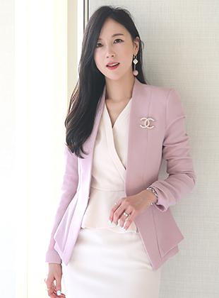 春オフィスジャケット<br> [ピンク、アイボリー、ブラック、S、M、L]